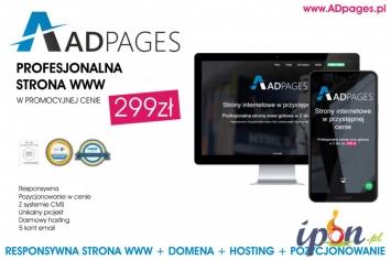 FIRMOWA STRONA INTERNETOWA - STRONA WWW + SEO, DOMENA, HOSTING GRATIS!